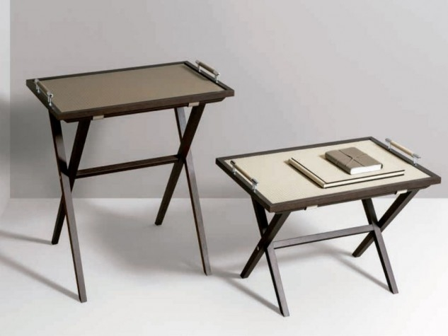 foldable table with leather top
